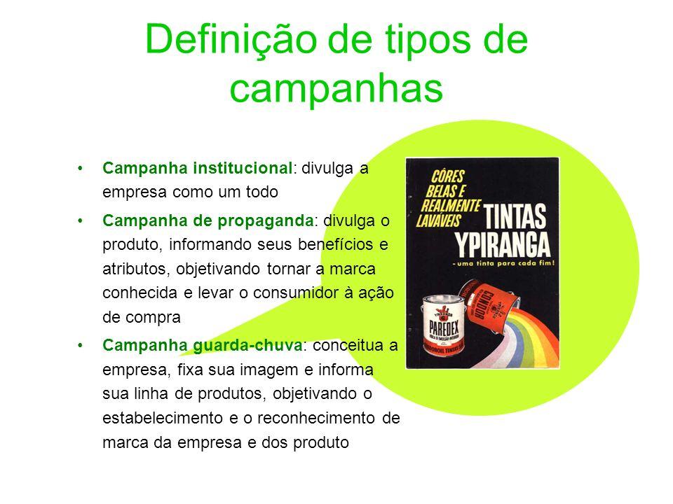 Definição de tipos de campanhas