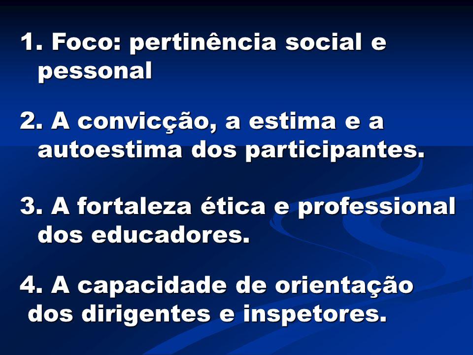 1. Foco: pertinência social e pessonal