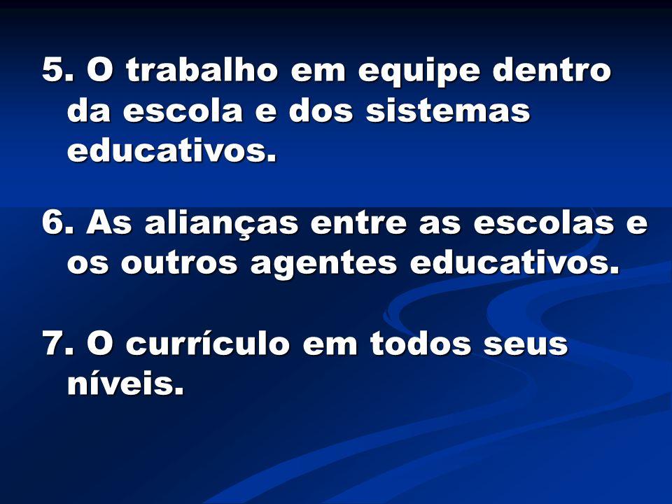 5. O trabalho em equipe dentro da escola e dos sistemas educativos.