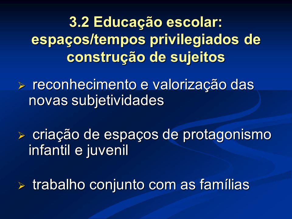 3.2 Educação escolar: espaços/tempos privilegiados de construção de sujeitos