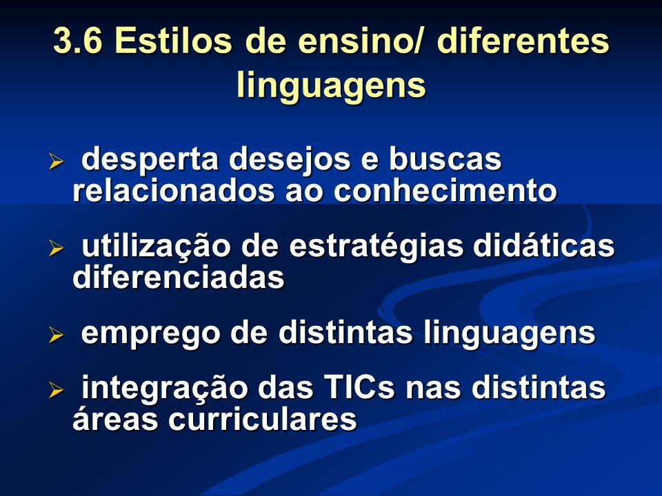 3.6 Estilos de ensino/ diferentes linguagens