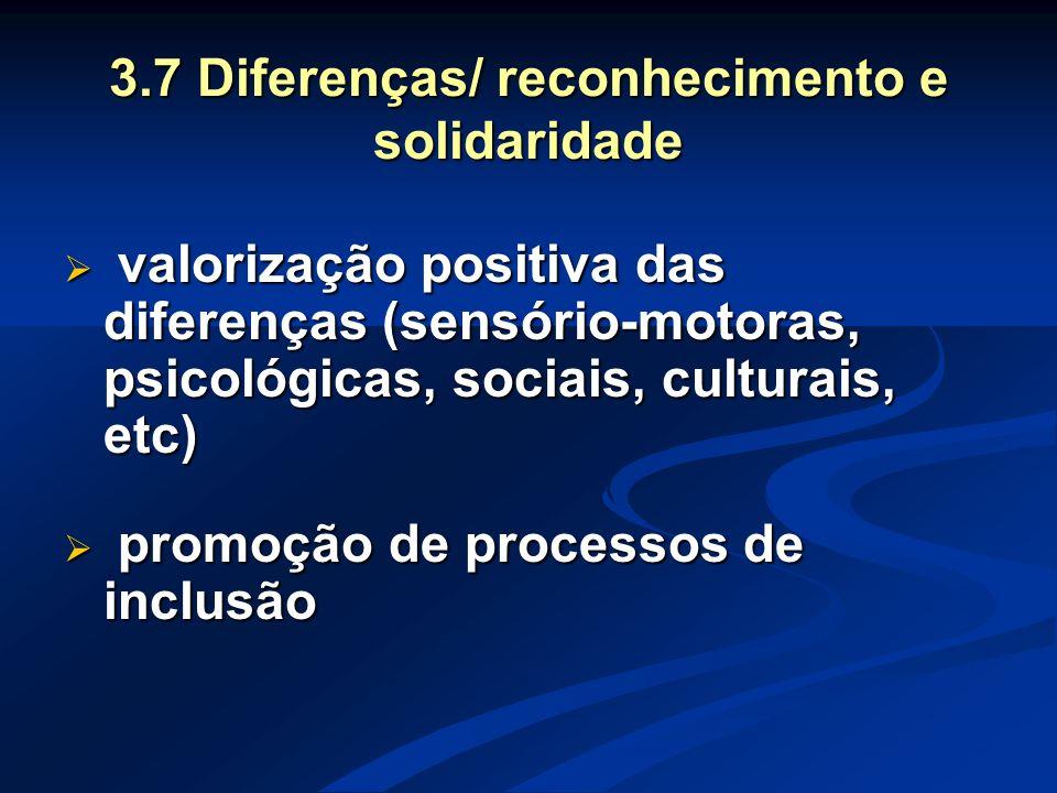 3.7 Diferenças/ reconhecimento e solidaridade