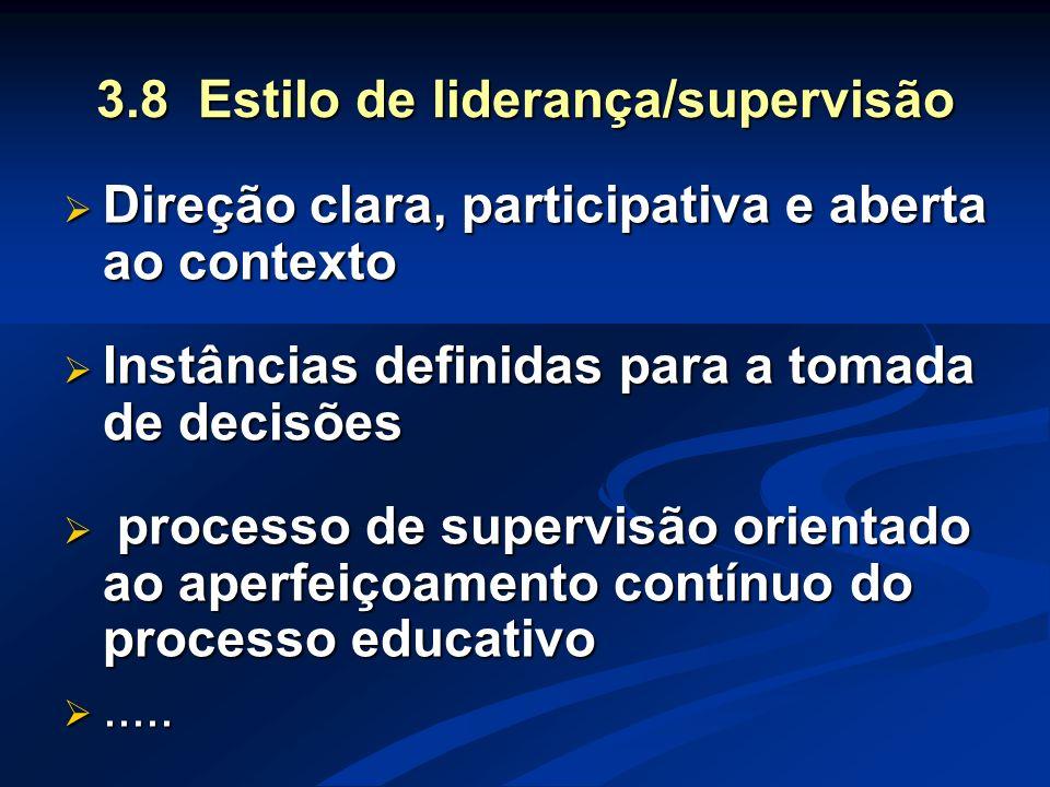 3.8 Estilo de liderança/supervisão