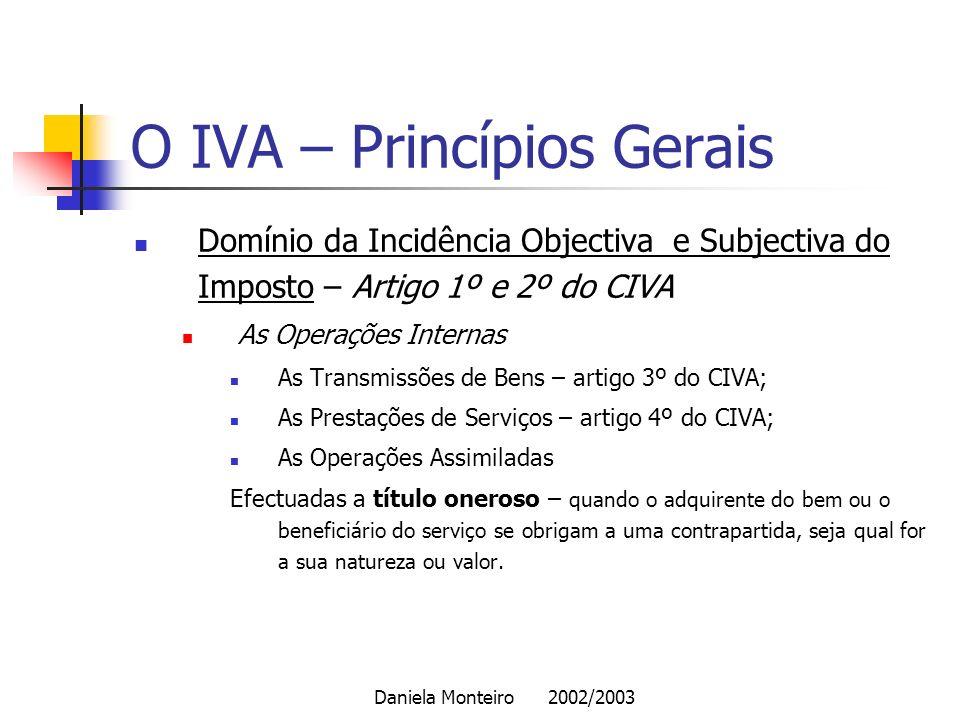 O IVA – Princípios Gerais
