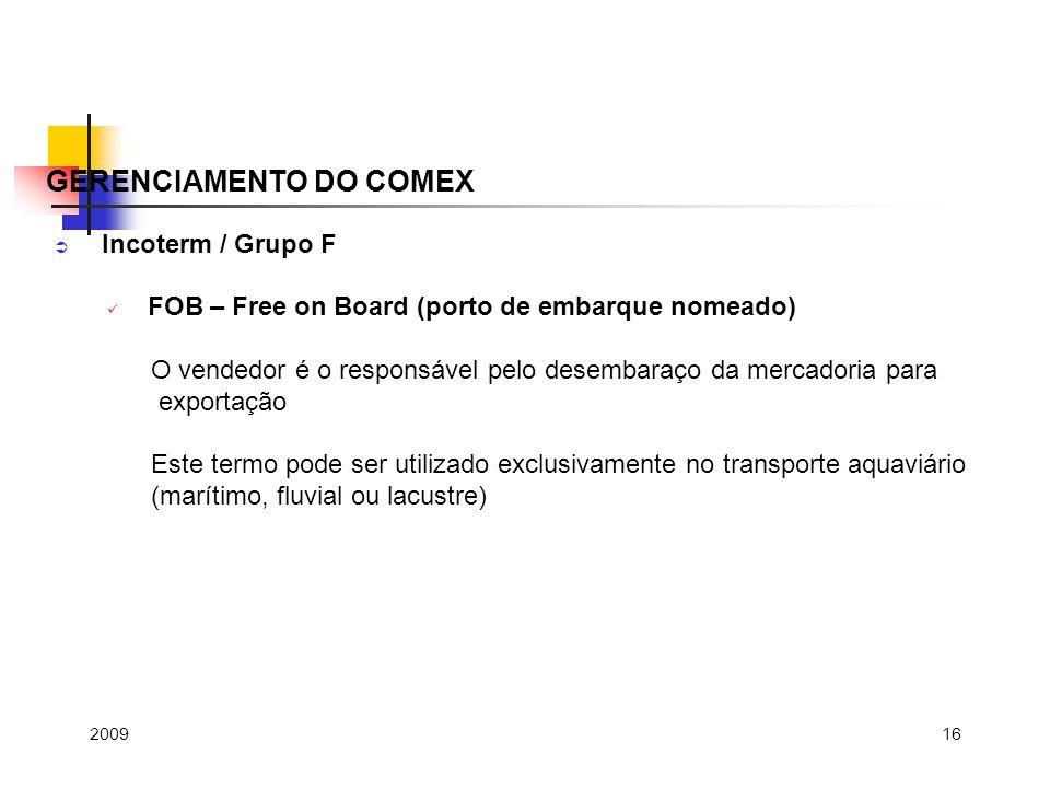 GERENCIAMENTO DO COMEX