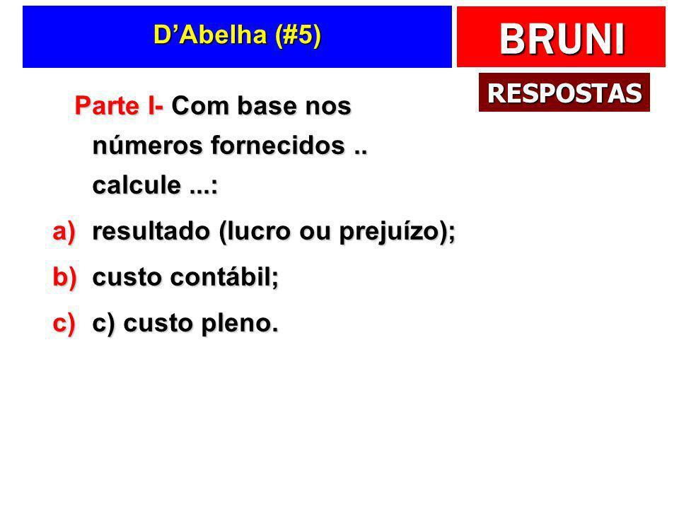 D'Abelha (#5) RESPOSTAS. Parte I- Com base nos números fornecidos .. calcule ...: resultado (lucro ou prejuízo);
