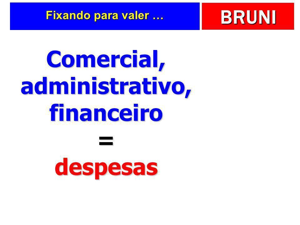 Comercial, administrativo, financeiro = despesas