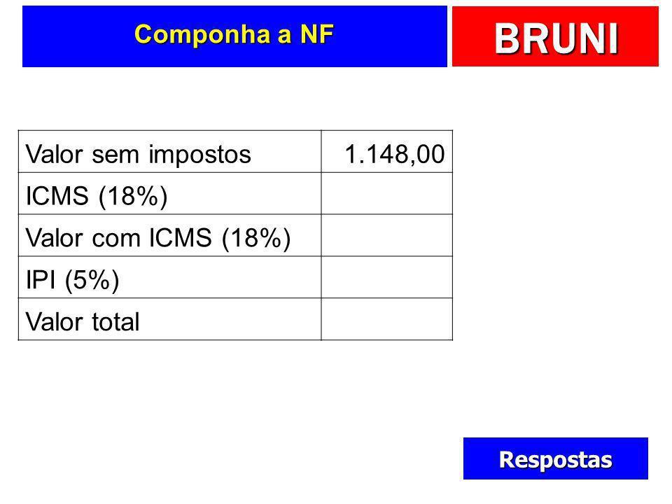 Componha a NF Valor sem impostos 1.148,00 ICMS (18%) 252,00