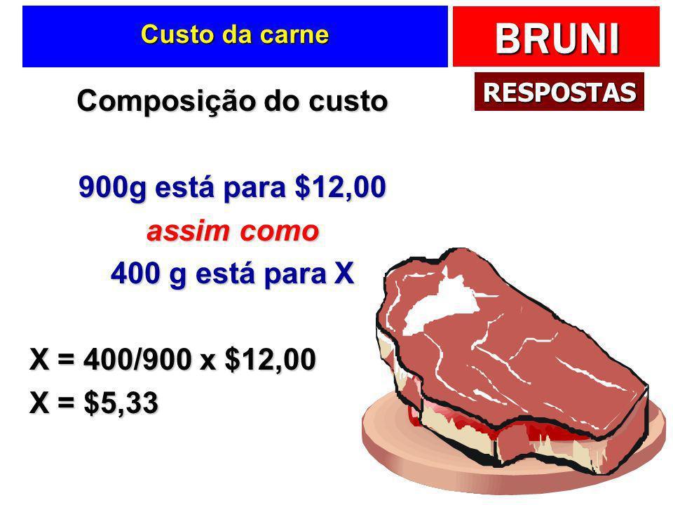 Composição do custo 900g está para $12,00 assim como 400 g está para X