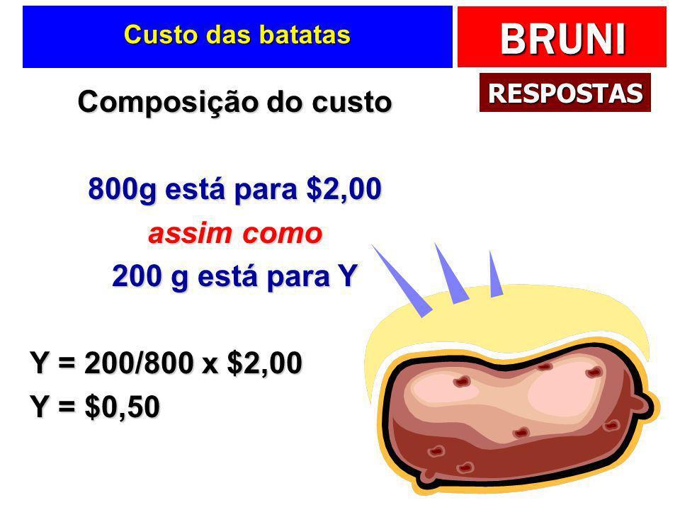 Composição do custo 800g está para $2,00 assim como 200 g está para Y