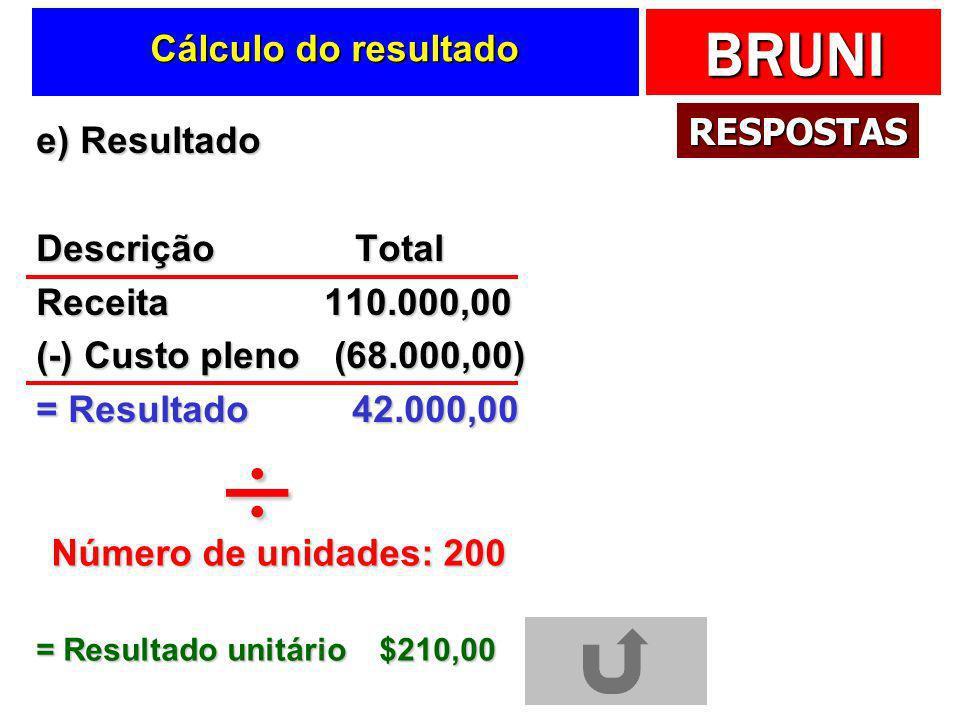 ÷ Cálculo do resultado RESPOSTAS e) Resultado Descrição Total
