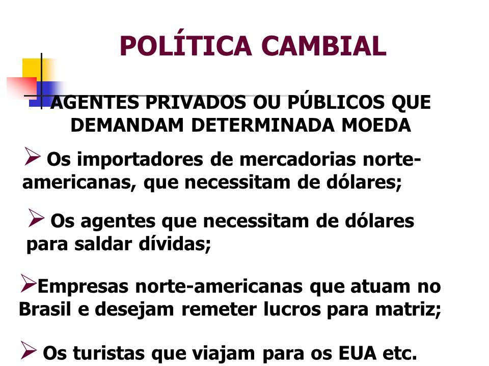 AGENTES PRIVADOS OU PÚBLICOS QUE DEMANDAM DETERMINADA MOEDA