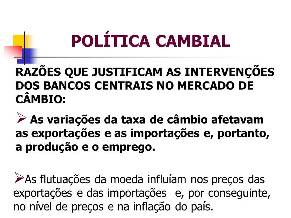 POLÍTICA CAMBIAL RAZÕES QUE JUSTIFICAM AS INTERVENÇÕES DOS BANCOS CENTRAIS NO MERCADO DE CÂMBIO: