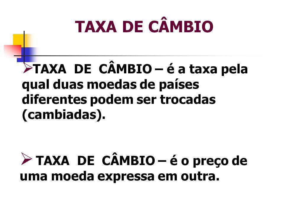TAXA DE CÂMBIO TAXA DE CÂMBIO – é a taxa pela qual duas moedas de países diferentes podem ser trocadas (cambiadas).