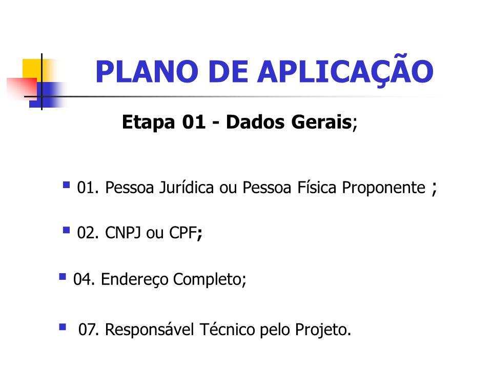 PLANO DE APLICAÇÃO Etapa 01 - Dados Gerais;