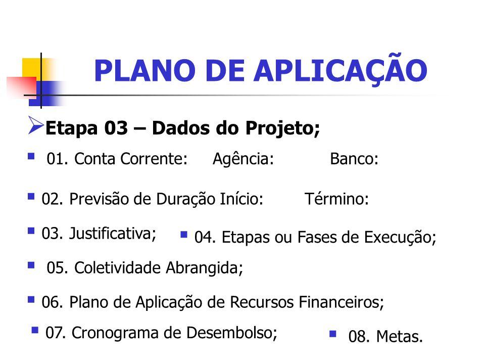 PLANO DE APLICAÇÃO Etapa 03 – Dados do Projeto;