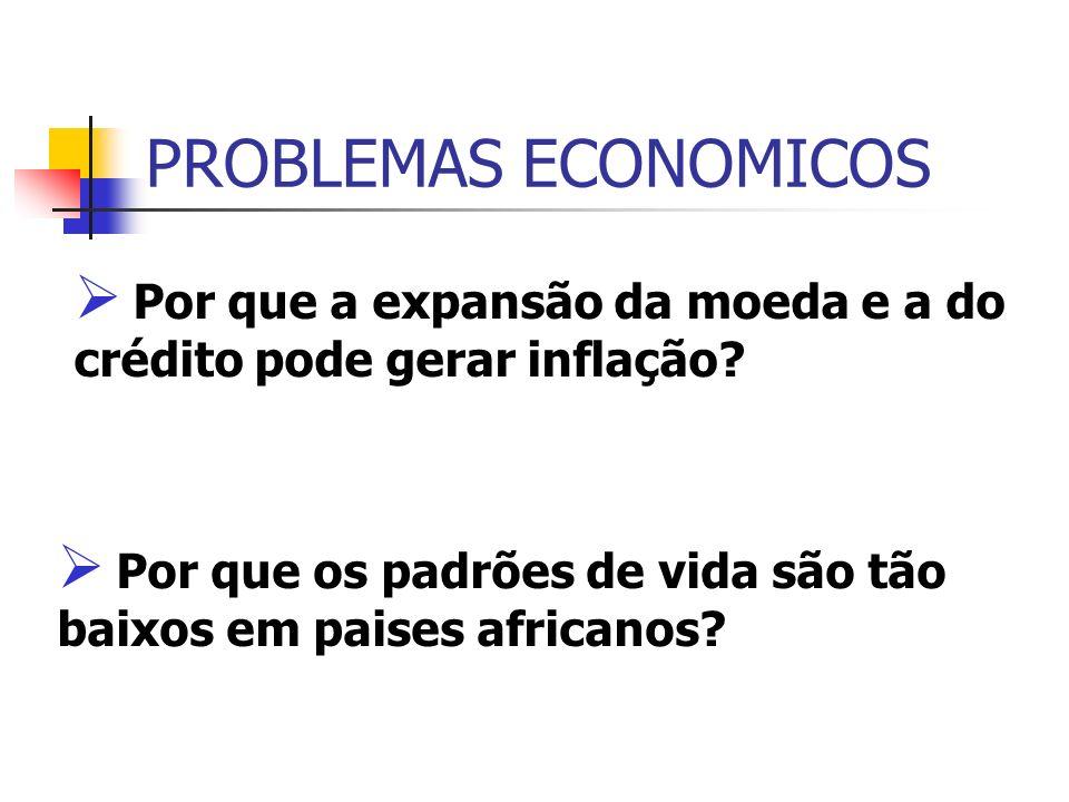 PROBLEMAS ECONOMICOS Por que a expansão da moeda e a do crédito pode gerar inflação.