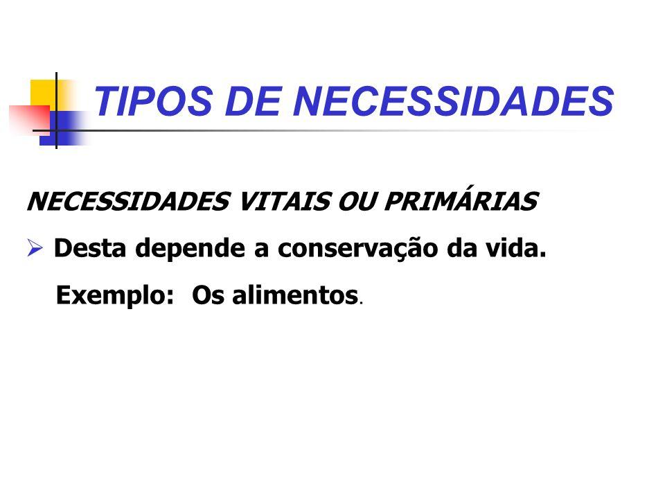 TIPOS DE NECESSIDADES NECESSIDADES VITAIS OU PRIMÁRIAS