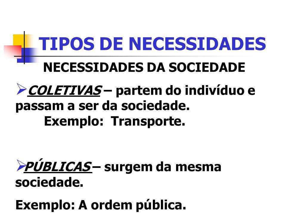 NECESSIDADES DA SOCIEDADE
