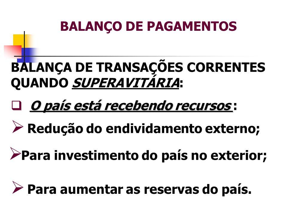 BALANÇO DE PAGAMENTOS BALANÇA DE TRANSAÇÕES CORRENTES QUANDO SUPERAVITÁRIA: O país está recebendo recursos :