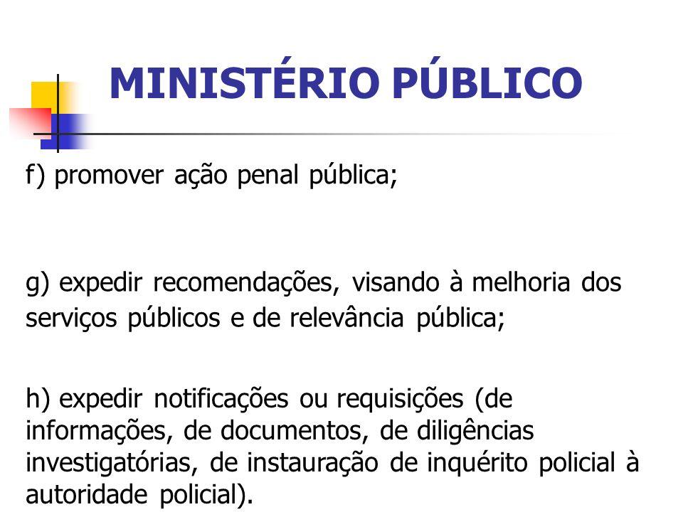 MINISTÉRIO PÚBLICO f) promover ação penal pública;