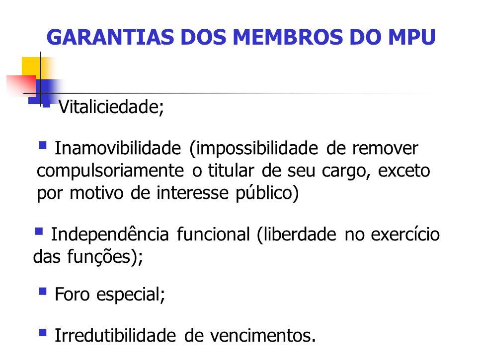GARANTIAS DOS MEMBROS DO MPU