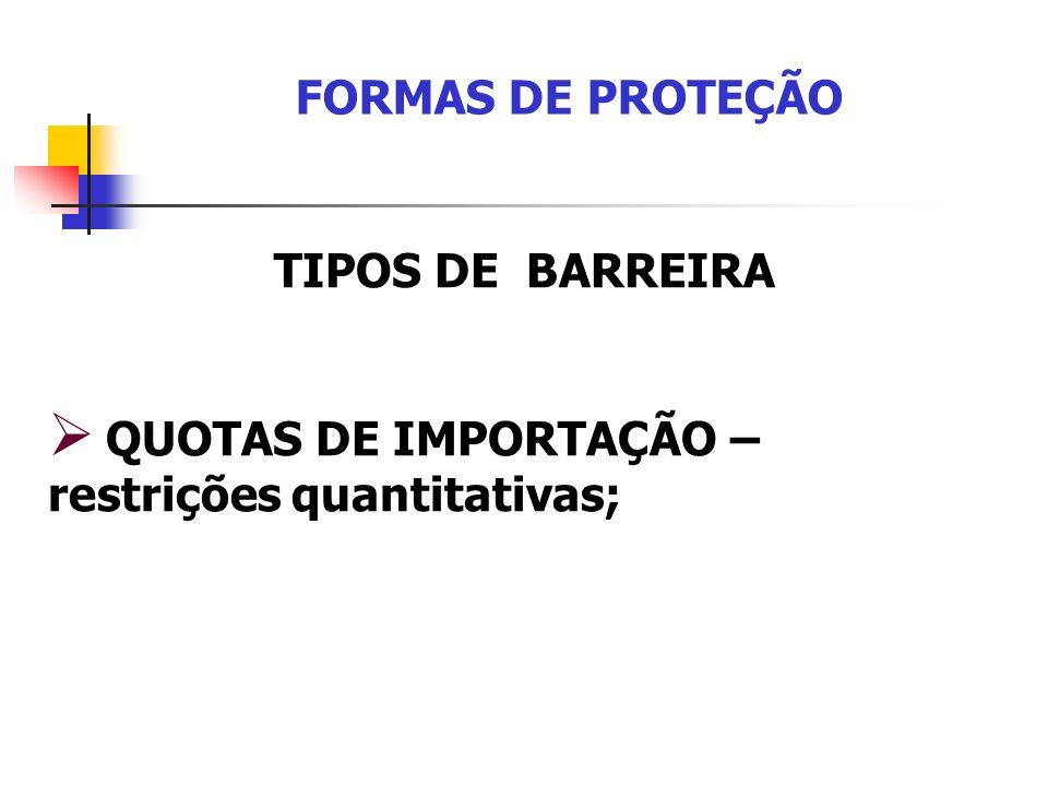 FORMAS DE PROTEÇÃO TIPOS DE BARREIRA QUOTAS DE IMPORTAÇÃO – restrições quantitativas;