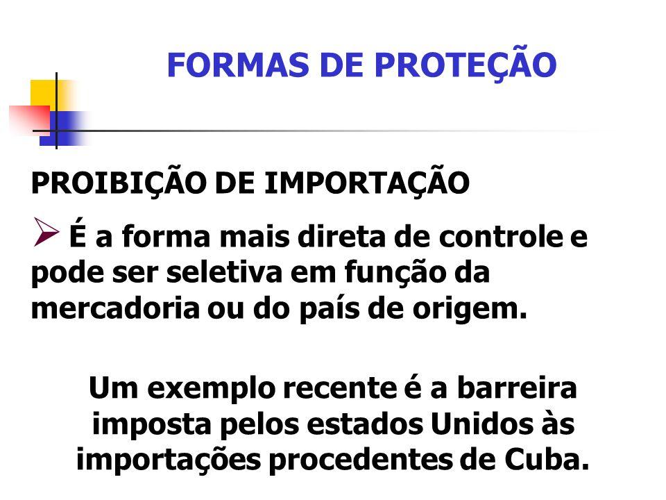 FORMAS DE PROTEÇÃO PROIBIÇÃO DE IMPORTAÇÃO