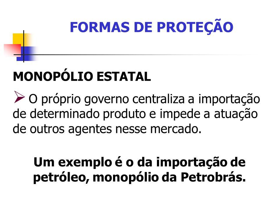 Um exemplo é o da importação de petróleo, monopólio da Petrobrás.