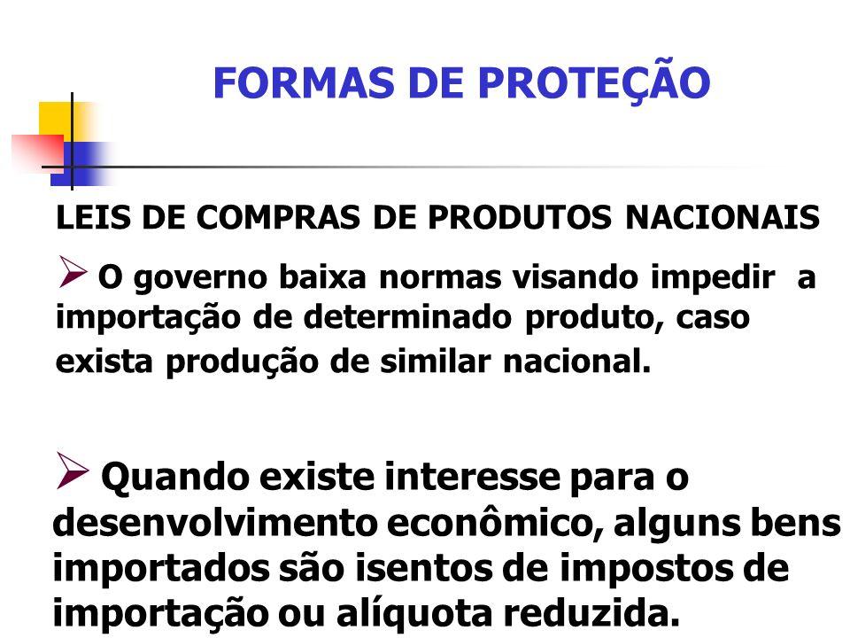 FORMAS DE PROTEÇÃO LEIS DE COMPRAS DE PRODUTOS NACIONAIS.