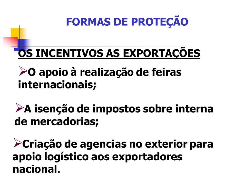 FORMAS DE PROTEÇÃO OS INCENTIVOS AS EXPORTAÇÕES. O apoio à realização de feiras internacionais; A isenção de impostos sobre interna de mercadorias;