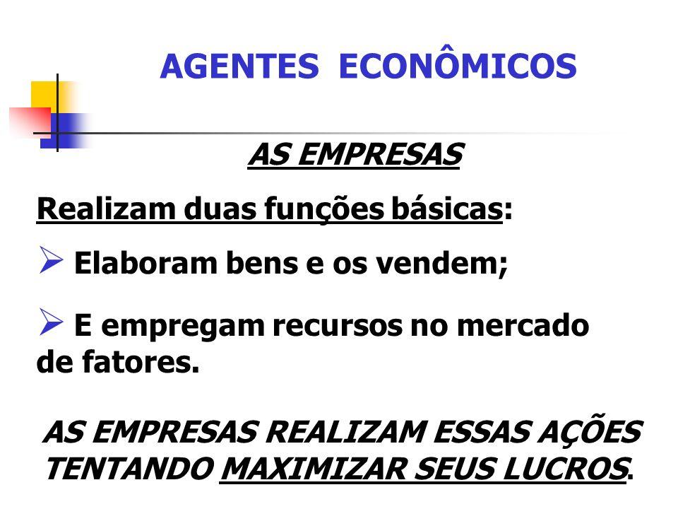 AGENTES ECONÔMICOS AS EMPRESAS Realizam duas funções básicas:
