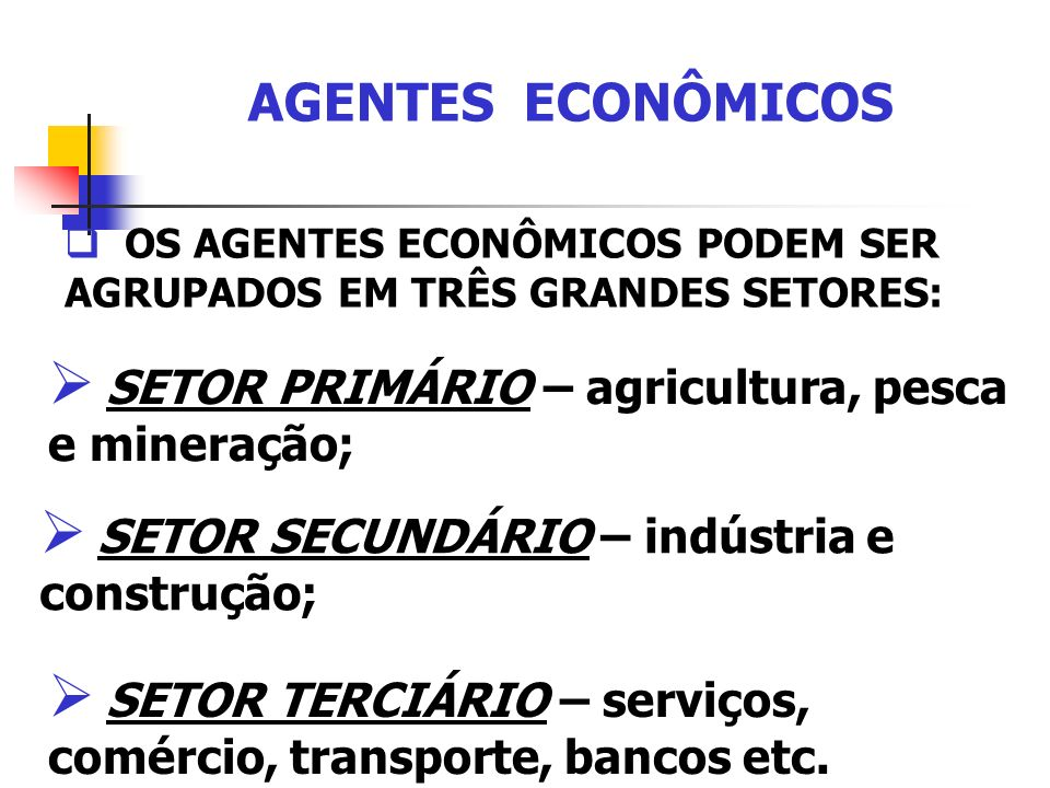 AGENTES ECONÔMICOS SETOR PRIMÁRIO – agricultura, pesca e mineração;