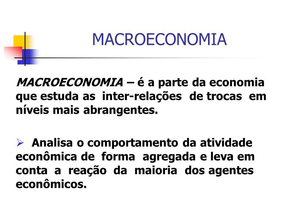 MACROECONOMIA MACROECONOMIA – é a parte da economia que estuda as inter-relações de trocas em níveis mais abrangentes.