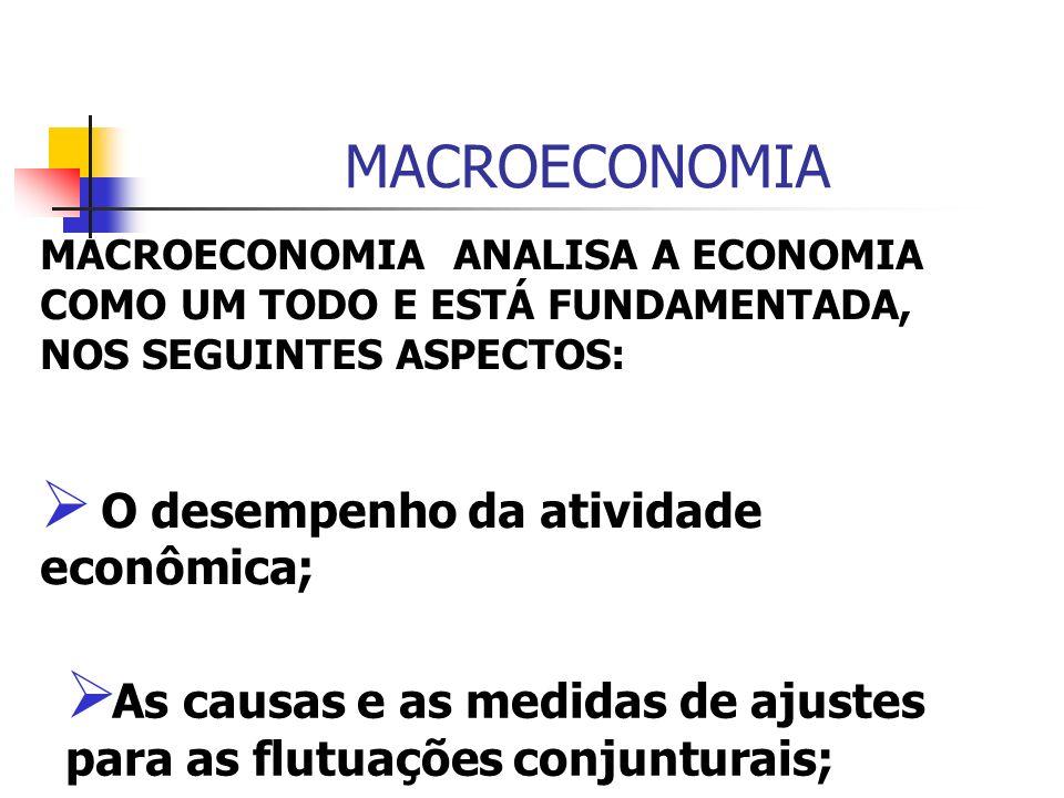 MACROECONOMIA O desempenho da atividade econômica;