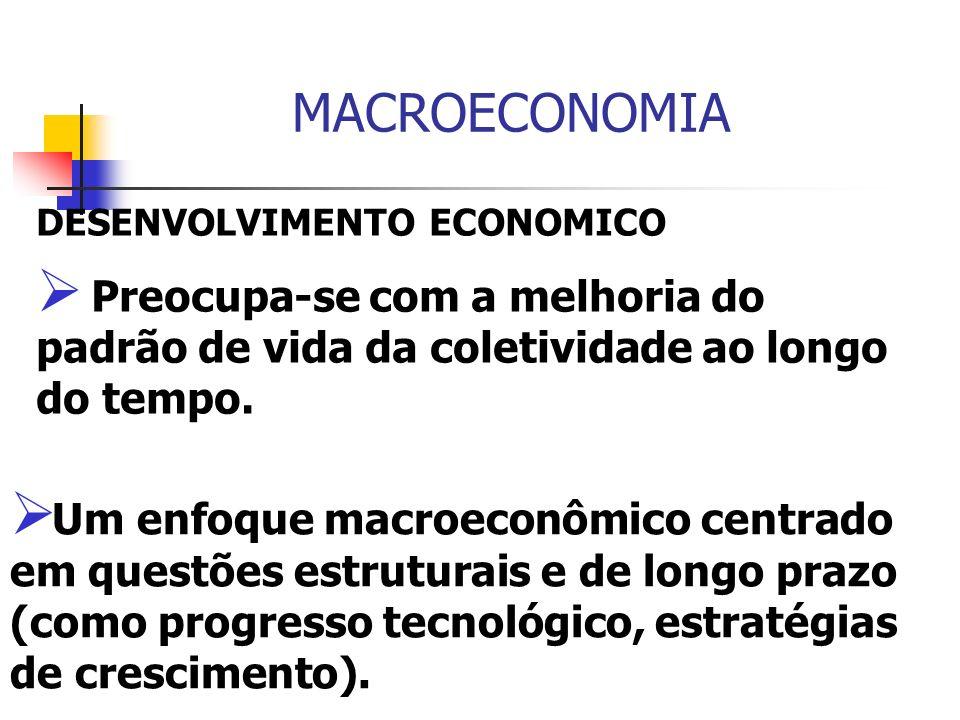 MACROECONOMIADESENVOLVIMENTO ECONOMICO. Preocupa-se com a melhoria do padrão de vida da coletividade ao longo do tempo.