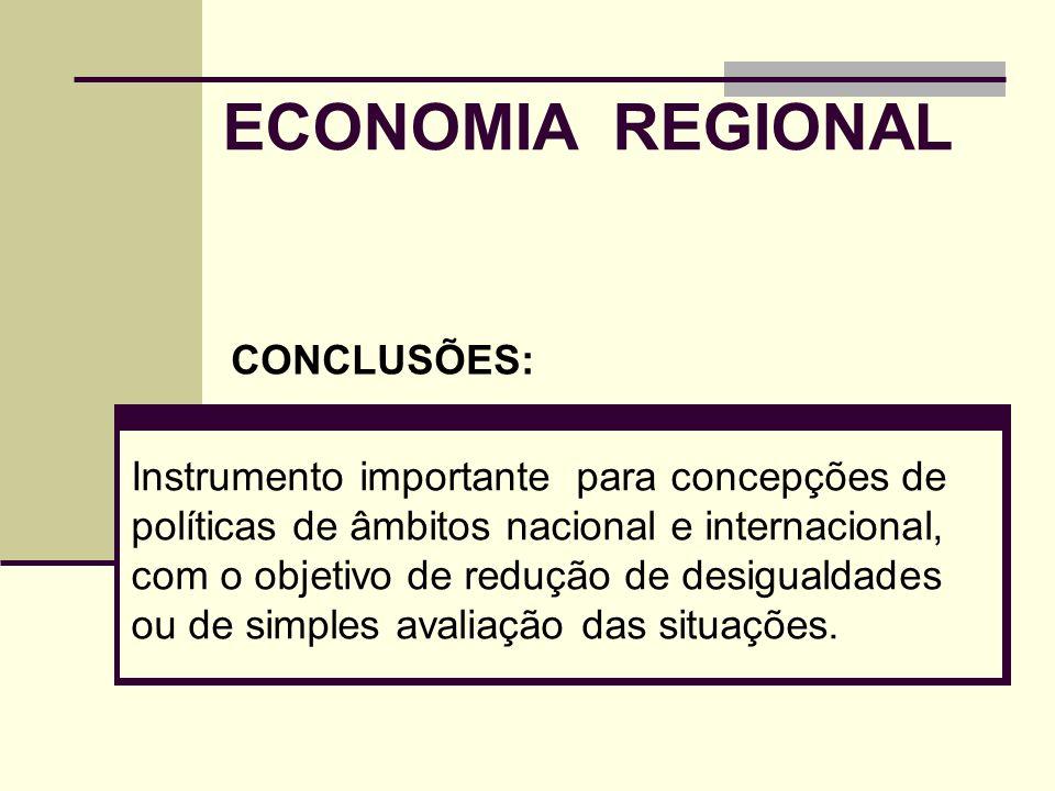 ECONOMIA REGIONAL CONCLUSÕES: