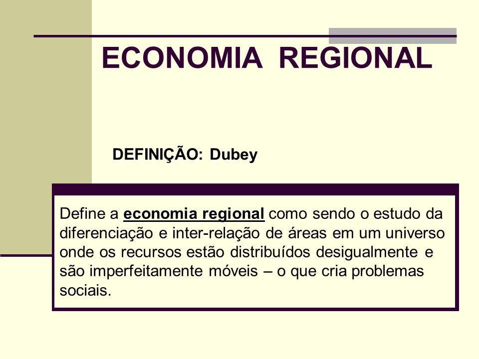 ECONOMIA REGIONAL DEFINIÇÃO: Dubey