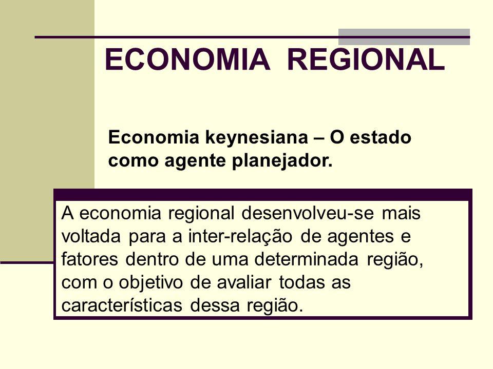 ECONOMIA REGIONAL Economia keynesiana – O estado como agente planejador.