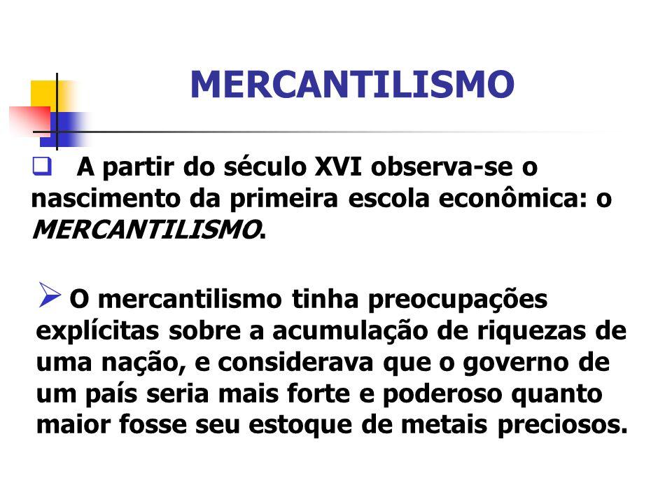 MERCANTILISMOA partir do século XVI observa-se o nascimento da primeira escola econômica: o MERCANTILISMO.
