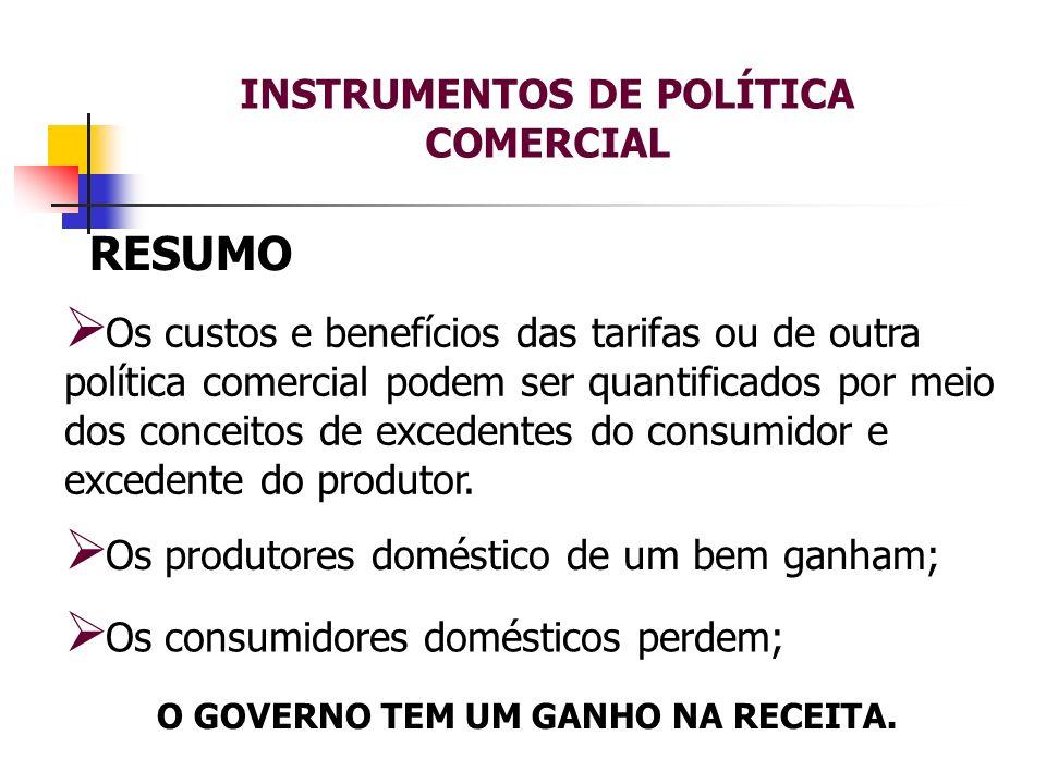 INSTRUMENTOS DE POLÍTICA COMERCIAL O GOVERNO TEM UM GANHO NA RECEITA.