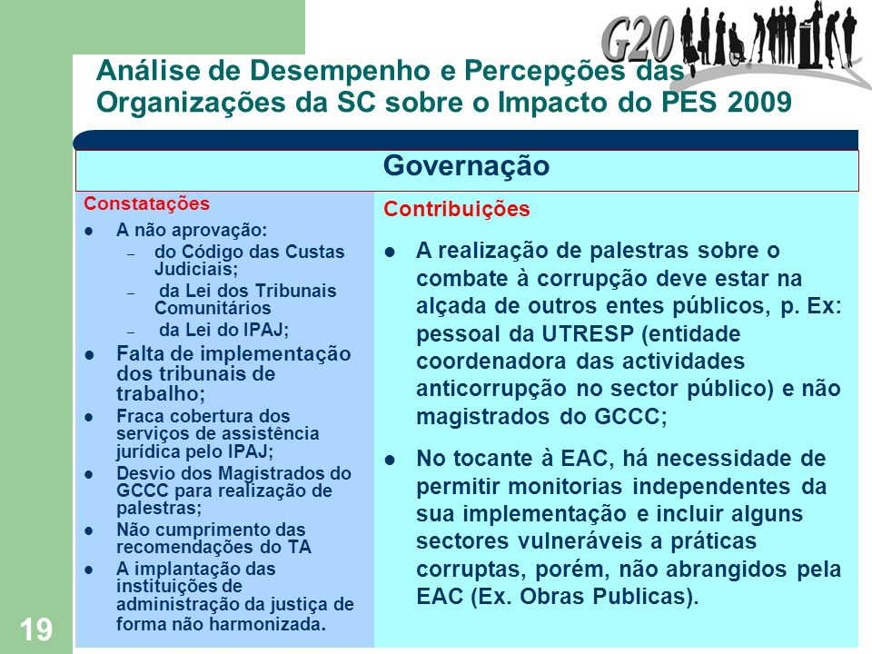 Análise de Desempenho e Percepções das Organizações da SC sobre o Impacto do PES 2009