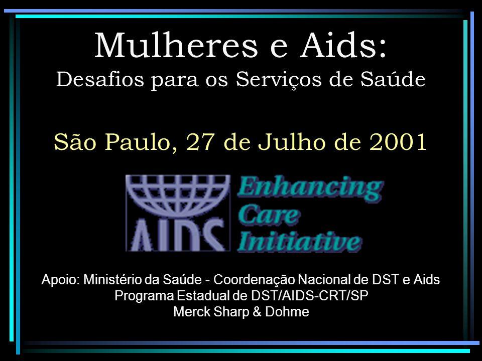 Mulheres e Aids: Desafios para os Serviços de Saúde São Paulo, 27 de Julho de 2001 Apoio: Ministério da Saúde - Coordenação Nacional de DST e Aids Programa Estadual de DST/AIDS-CRT/SP Merck Sharp & Dohme