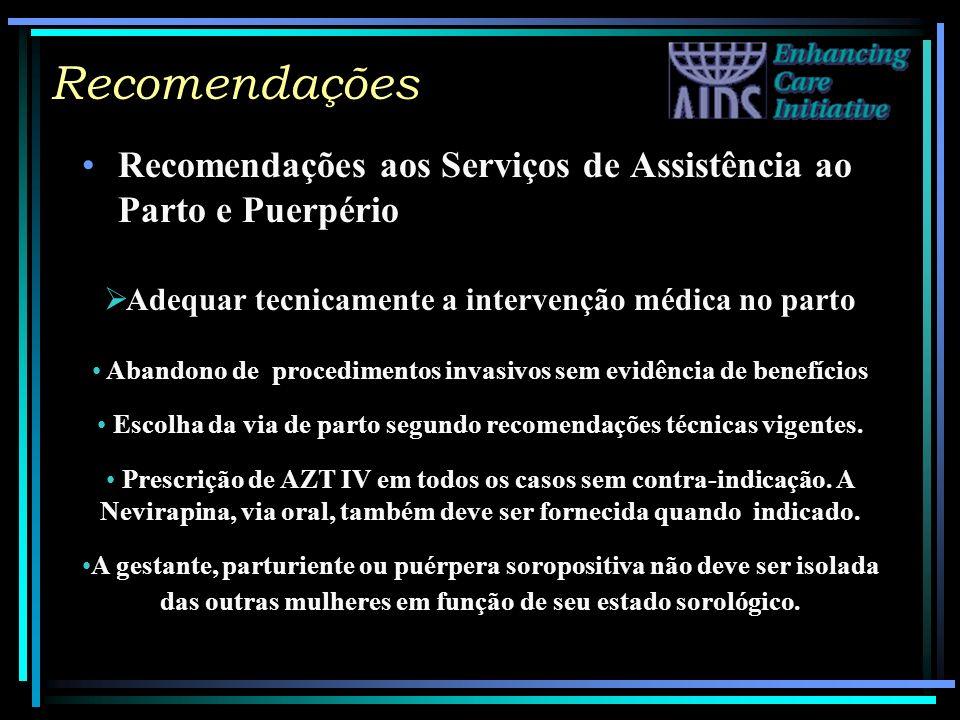 Recomendações Recomendações aos Serviços de Assistência ao Parto e Puerpério. Adequar tecnicamente a intervenção médica no parto.