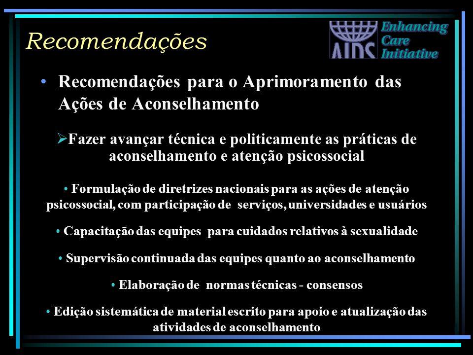 Recomendações Recomendações para o Aprimoramento das Ações de Aconselhamento.