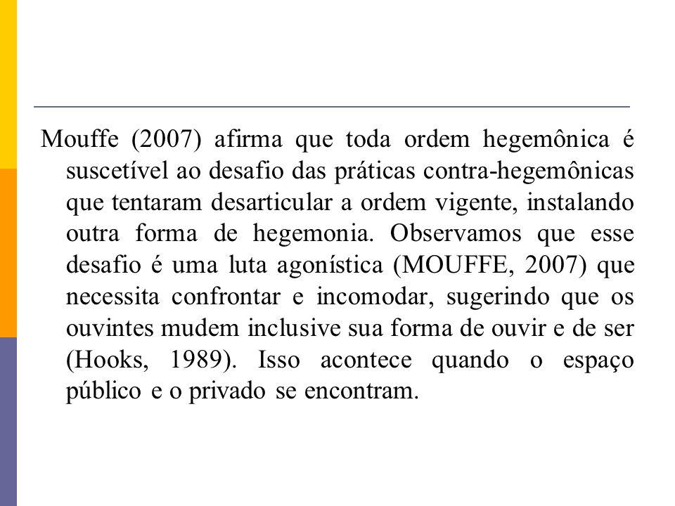 Mouffe (2007) afirma que toda ordem hegemônica é suscetível ao desafio das práticas contra-hegemônicas que tentaram desarticular a ordem vigente, instalando outra forma de hegemonia.