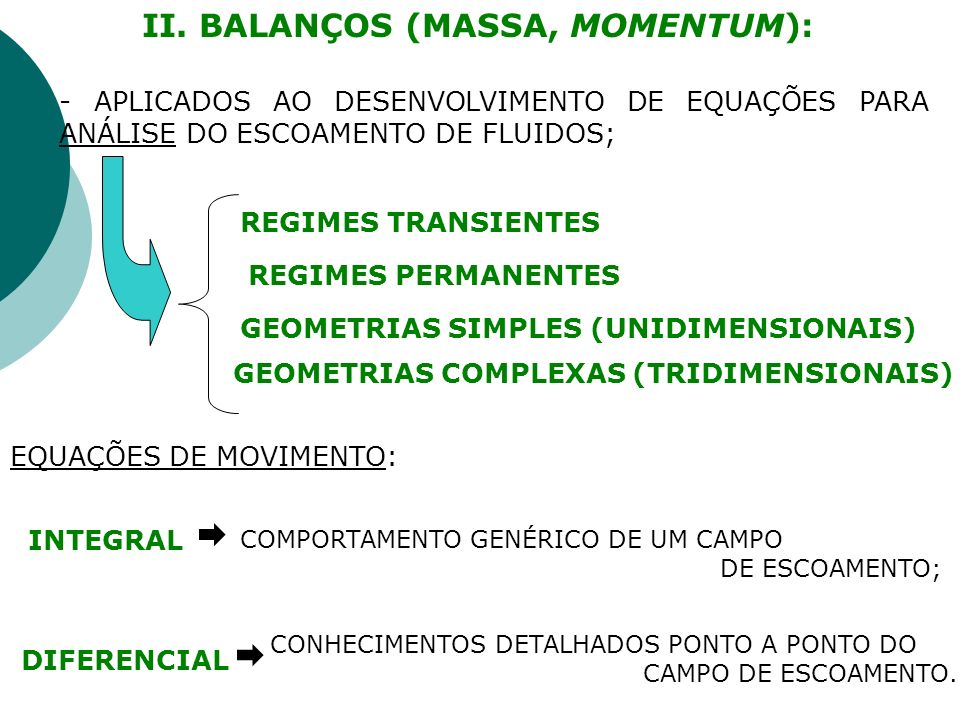 II. BALANÇOS (MASSA, MOMENTUM):