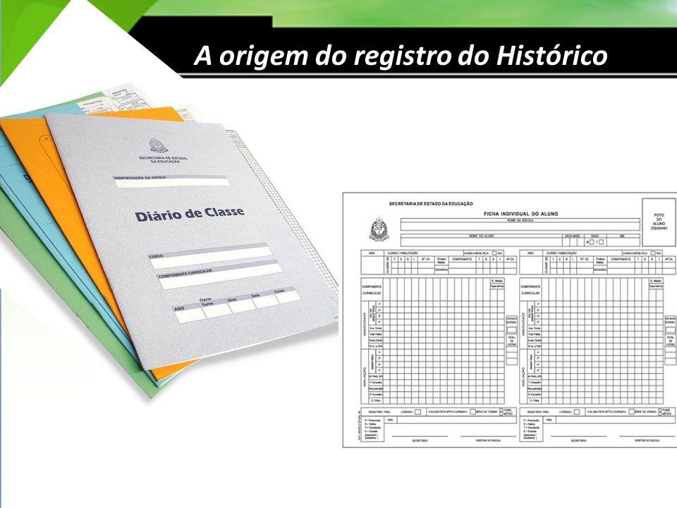 A origem do registro do Histórico