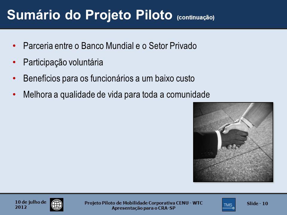 Sumário do Projeto Piloto (continuação)