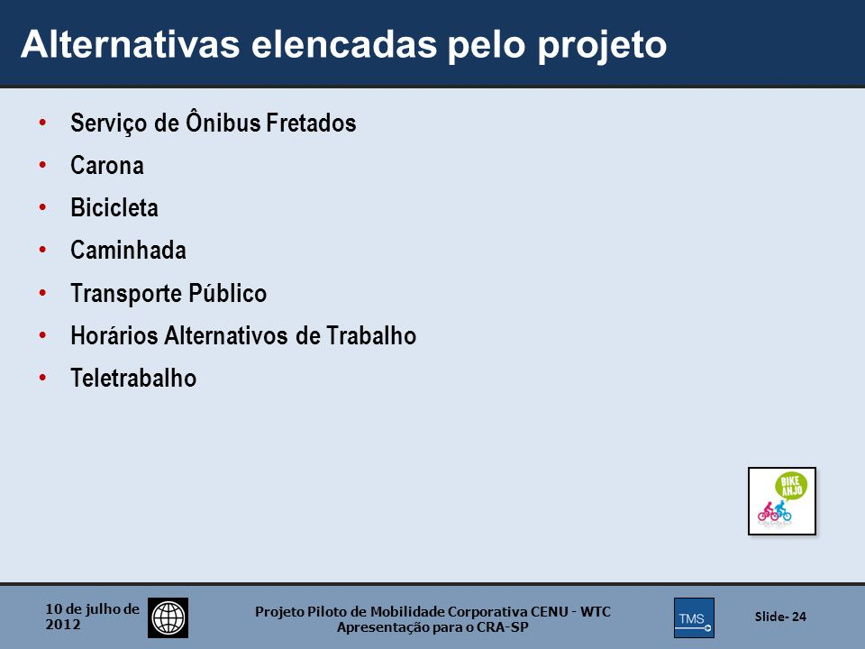Alternativas elencadas pelo projeto